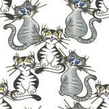 Illustration blanche de dessin de main de contexte espiègle gai de chats illustration libre de droits