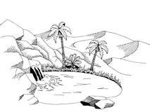 Illustration blanche de paysage de noir de l'industrie graphique de désert d'oasis Photo stock