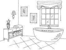 Illustration blanche noire intérieure graphique de croquis de salle de bains illustration de vecteur