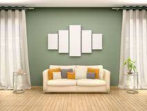 Illustration of blank canvas above the sofa in the interior. 3d illustration of blank canvas above the sofa in the interior stock illustration