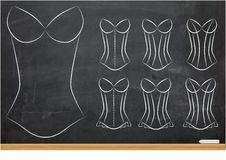 Illustration of Blank Oultines of Corsets with Different Styles Royalty Free Stock Photo