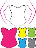 Illustration of Blank Oultines of Corsets with Different Styles Royalty Free Stock Photography