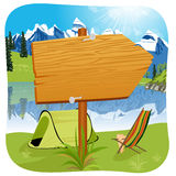 Illustration of a blank wooden board standing near the entrance of a campsite. Located at the foot of a mountain Royalty Free Stock Photography