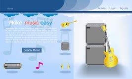 Illustration bleu-foncé eps10 de vecteur de fond de calibre de site Web de studio de musique illustration de vecteur