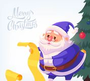 Illustration bleue de bande dessinée de vecteur de Santa Claus Merry Christmas de costume Photos stock