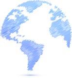 Illustration bleue de carte de globe du monde de griffonnage illustration de vecteur