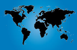 Illustration bleue de cartes du monde avec des frontières de pays image stock
