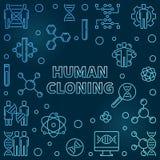 Illustration bleue de concept d'ensemble de clonage humain de vecteur illustration de vecteur