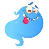 Illustration bleue de fantôme de bande dessinée de vecteur idiot de fantôme illustration de vecteur
