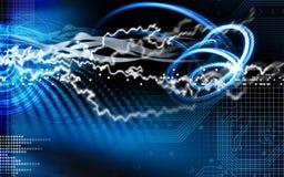 Illustration bleue de foudre et de circuit Image libre de droits