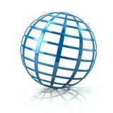 Illustration bleue de l'icône 3d de globe Photos stock