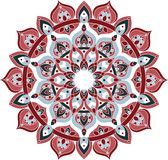 Illustration bleue de vecteur et rouge fleurie de mandala Photo libre de droits