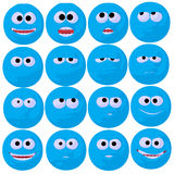 Illustration bleue mignonne d'art d'émoticône Image libre de droits