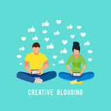 Illustration blogging concept. Couple man and woman sitting. Couple man and woman sitting in lotus position and read using a tablet pc. Young bloggers receiving Royalty Free Stock Image