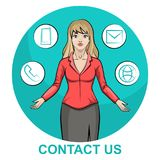 Illustration of a blond business woman character with infographic contact us royalty free illustration
