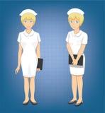 Illustration blonde de vecteur de bande dessinée de Full Body Poses d'infirmière Photographie stock libre de droits