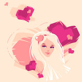 Illustration of the blonde. Vector illustration of the blonde and hearts Stock Photography