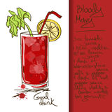 Illustration with Bloody Mary cocktail. Illustration with hand drawn Bloody Mary cocktail Royalty Free Stock Photo