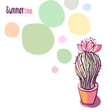 Illustration with blooming cactus Stock Images