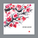 Illustration with blooming sakura Stock Photos