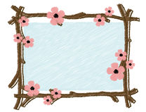 Spring frame with blooming tree branches Royalty Free Stock Image