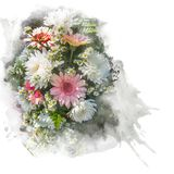 Illustration of blossom flower. Illustration of blossom chrysanthemum and gerbera flower. Artistic floral abstract background. Watercolor painting retouch Stock Images