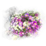 Illustration of blossom flower. Illustration of blossom colorful flower. Artistic floral abstract background. Watercolor painting retouch Royalty Free Stock Photo