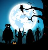 Illustration blue background,festival halloween concept. Full moon on dark night with many ghost,scarecrow,frankenstein and devil with graveyard and walking to Stock Illustration