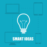 Illustration blue background smart ideas from the device Stock Photo