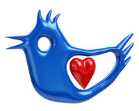 Illustration of blue bird and red heart Stock Images