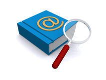 E-mail address listing. Illustration of a blue book of e-mail addresses with the '@' symbol marked in gold on the cover and a hand magnifier  isolated on white Royalty Free Stock Photos