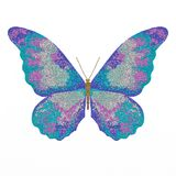 Illustration of a blue butterfly on a white background. The illustration is drawn in the style of pointillism. stock illustration