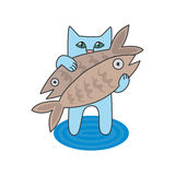 Illustration blue cat caught two fish Royalty Free Stock Image