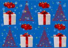 Illustration of a blue Christmas background. With presents royalty free illustration