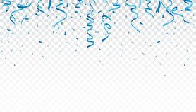 Blue confetti and ribbon, isolated on transparent background. Illustration of Blue confetti and ribbon, isolated on transparent background Royalty Free Stock Photo