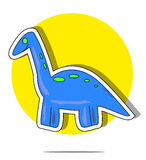 Illustration of a blue dinosaur with circle background Stock Image