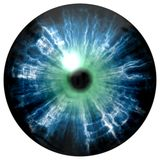 Illustration of blue eye iris, light reflection. View into open eyes. Royalty Free Stock Images