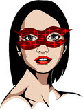 Illustration of a blue-eyed woman in shiny red mask Royalty Free Stock Photo