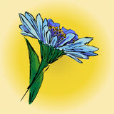 Illustration of a blue flower on a yellow background, hand drawi. Royalty Free Stock Image
