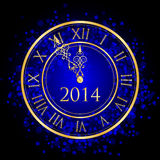 Illustration of blue and gold New Year clock Royalty Free Stock Photos