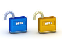 Illustration of blue and gold opened 3d padlocks Royalty Free Stock Photo