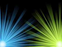 Illustration of blue and green light beams Stock Photography