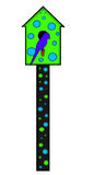Polka Dotted Bird House Illustration. Illustration of a blue and green polka dotted bird house with a blue bird sitting on the perch. Transparent PNG file is Royalty Free Stock Photo