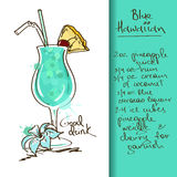Illustration with Blue Hawaiian cocktail. Illustration with hand drawn Blue Hawaiian cocktail Stock Images