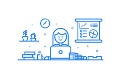 Illustration of blue icon in flat line style. Graphic design concept of woman financial accountant. Illustration of blue icon in flat line style. Linear cute Royalty Free Stock Photography