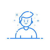 Illustration of blue icon in flat line style. Linear blue cute and happy man. Royalty Free Stock Photos