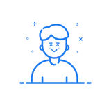 Illustration of blue icon in flat line style. Linear blue cute and happy man. Stock Photography