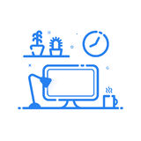 Illustration of blue icon in flat line style. Linear computer desk lamp, flowers. Royalty Free Stock Photography