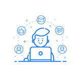 Illustration of blue icon in flat line style. Linear cute and happy man with laptop. Stock Photos