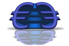 Illustration of a blue mirrored Euro sign in 3D rendering vector illustration